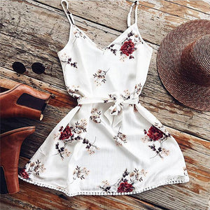 Summer Sexy Floral White Sundress