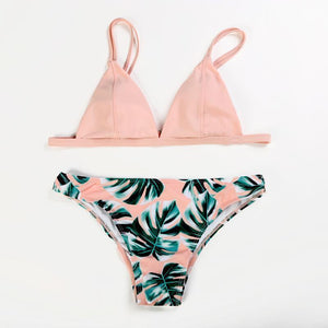 Summer Triangle Print Leaf Bikini