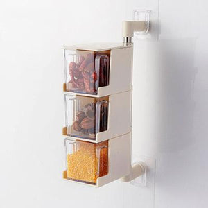 Wall-mounted Rotatable Seasoning Box (3Layers)