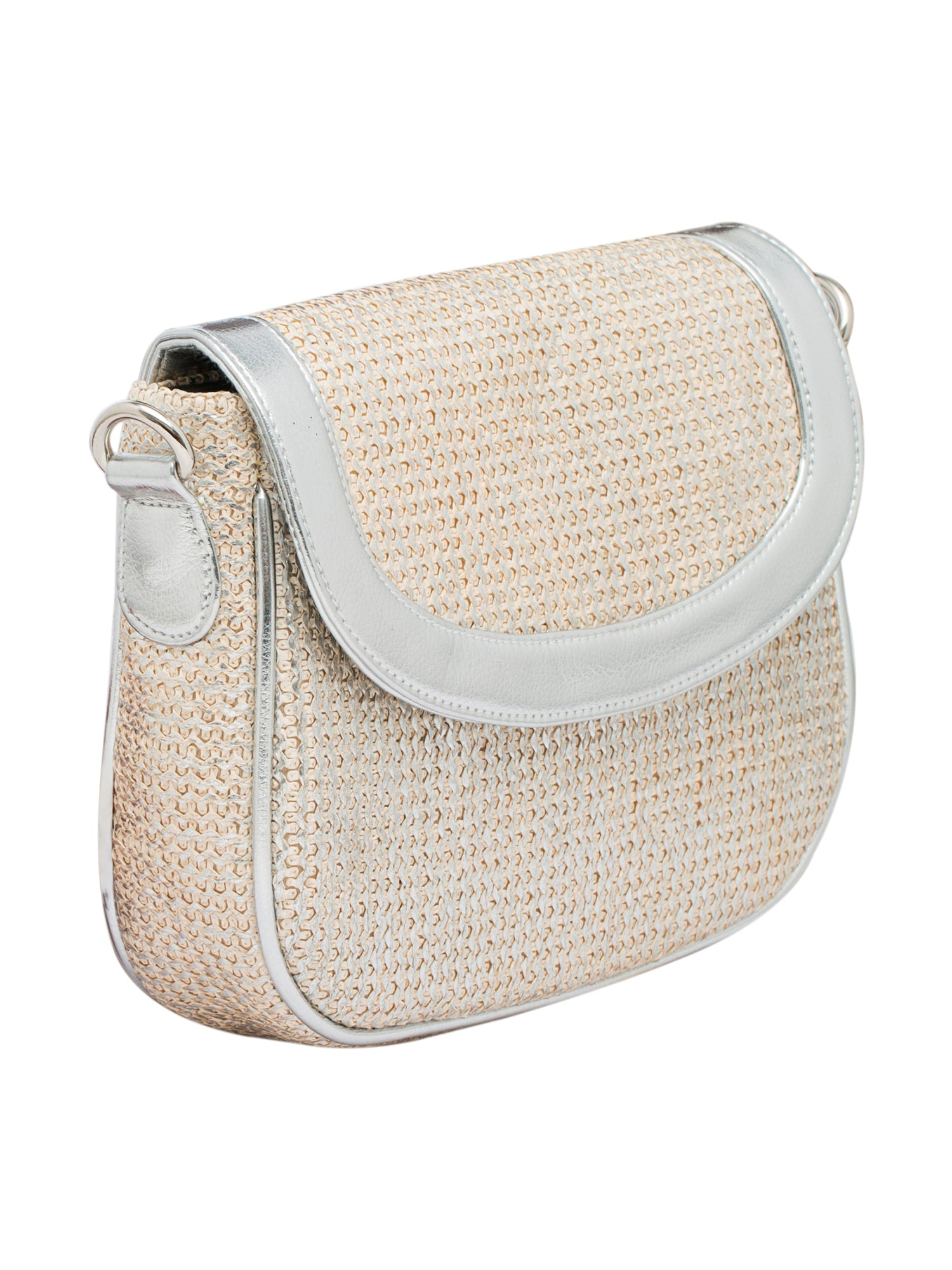 Created for fashion lovers, this Matt Silver Sling Bag for women by TARUSA is a real head turner. Featuring a spacious compartment with a Snap Button closure, it will accommodate all your essentials in a safe manner. Made of Fabric for durability, it has a shoulder strap for carrying comfort.