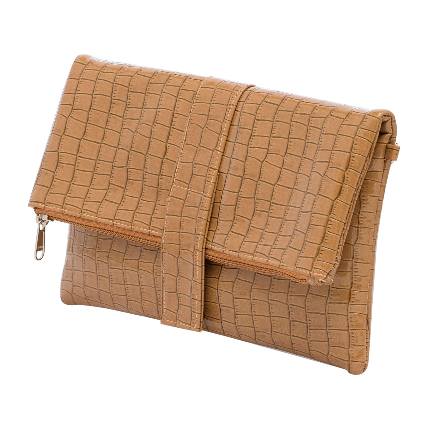 Showcasing a structured silhouette, this Brown Foldover Clutch by Tarusa is a real head turner. Featuring a sleek profile with Zipper closure, it has multiple slots to accommodate hard cash and plastic currency in a safe manner. Made of Faux Leather material, it is durable as well.