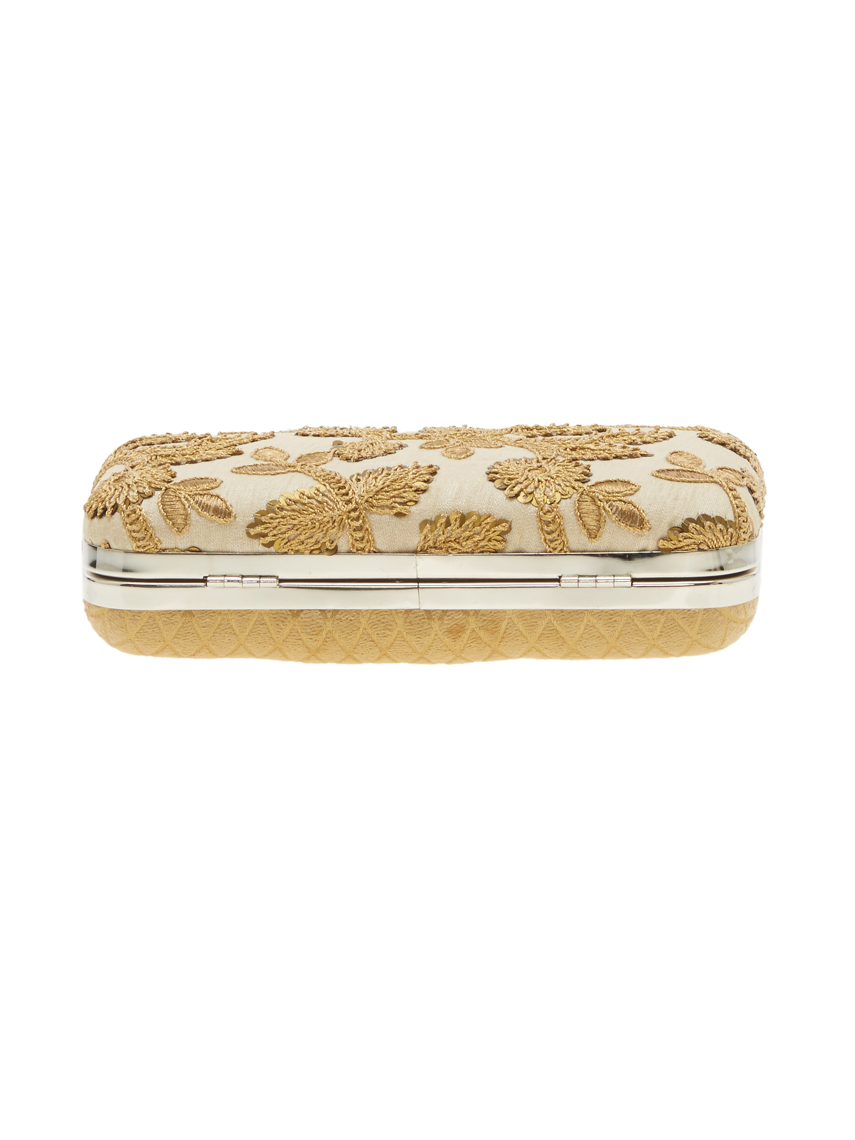 TARUSA Beige Embroidered Box Clutch