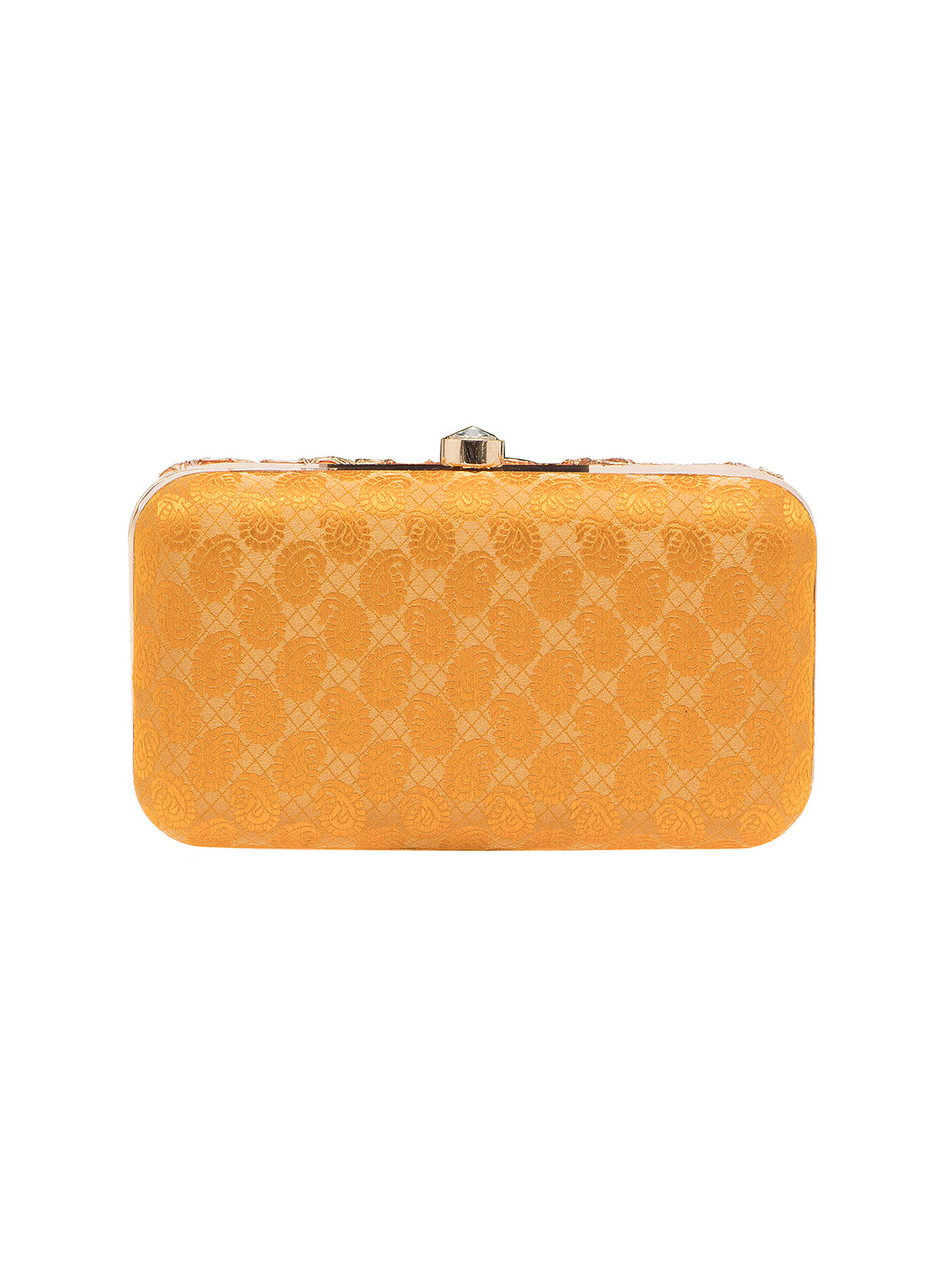 For women who love to flaunt classy accessories, this orange clutch from TARUSA is a must-buy. Crafted from fabric, this clutch is durable and exhibits a embroidered pattern. Featuring a chain sling, this box clutch will complement most of your party attire.