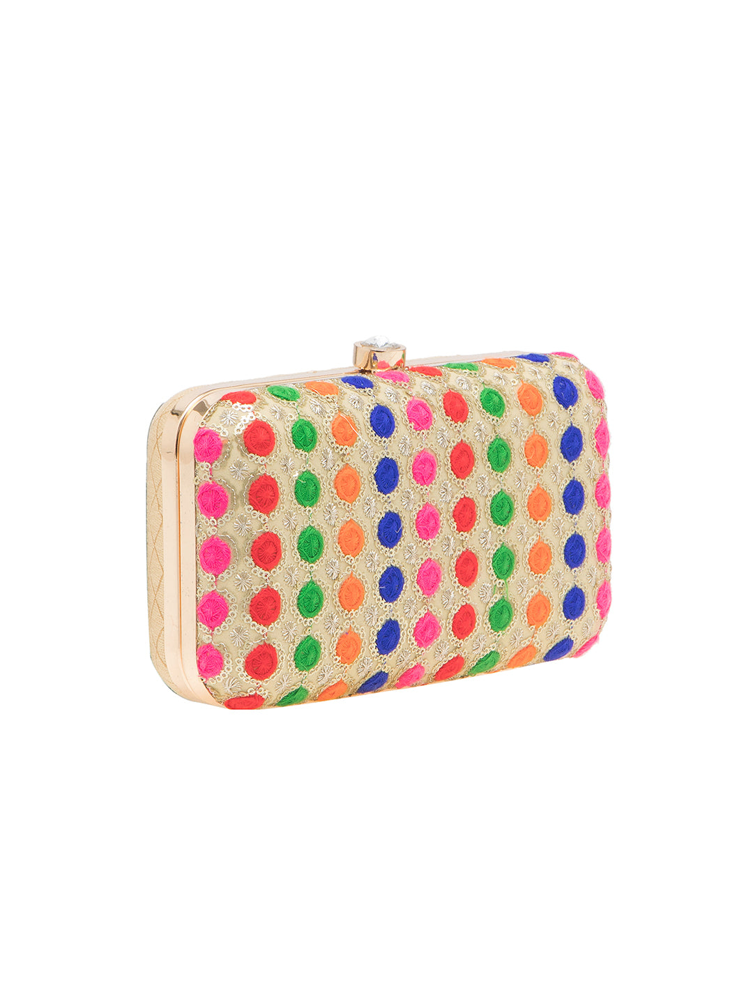 A standout fashion accessory that will let you garner compliments anywhere you go is this multicolored clutch from TARUSA. Exquisitely done with colorful sequin work and finished with metallic border, this luxurious piece also has a boxy design, a snap magnet and an attached chain shoulder strap inside. Uniquely designed in superior fabric, this pretty clutch will instantly add glamour to your outfit.