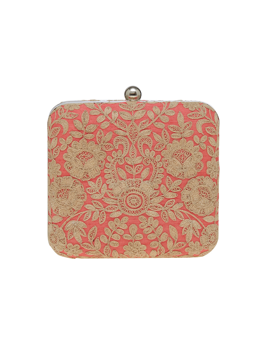 For women who love to flaunt classy accessories, this candy pink clutch from TARUSA is a must-buy. Crafted from fabric, this clutch is durable and exhibits a embroidered  pattern. Featuring a chain sling, this box clutch will complement most of your party attire.