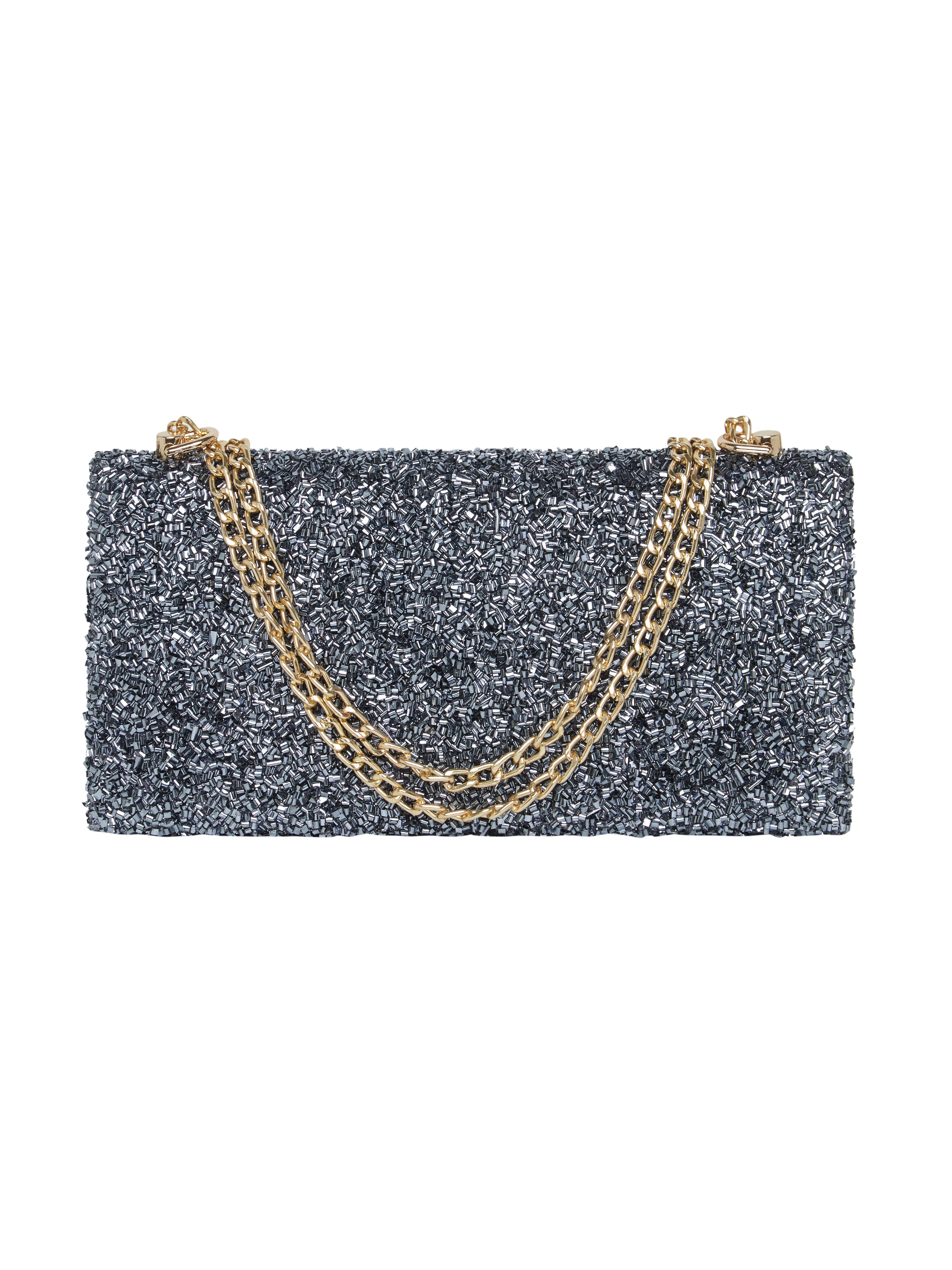 TARUSA Grey Party Shimmer Clutch