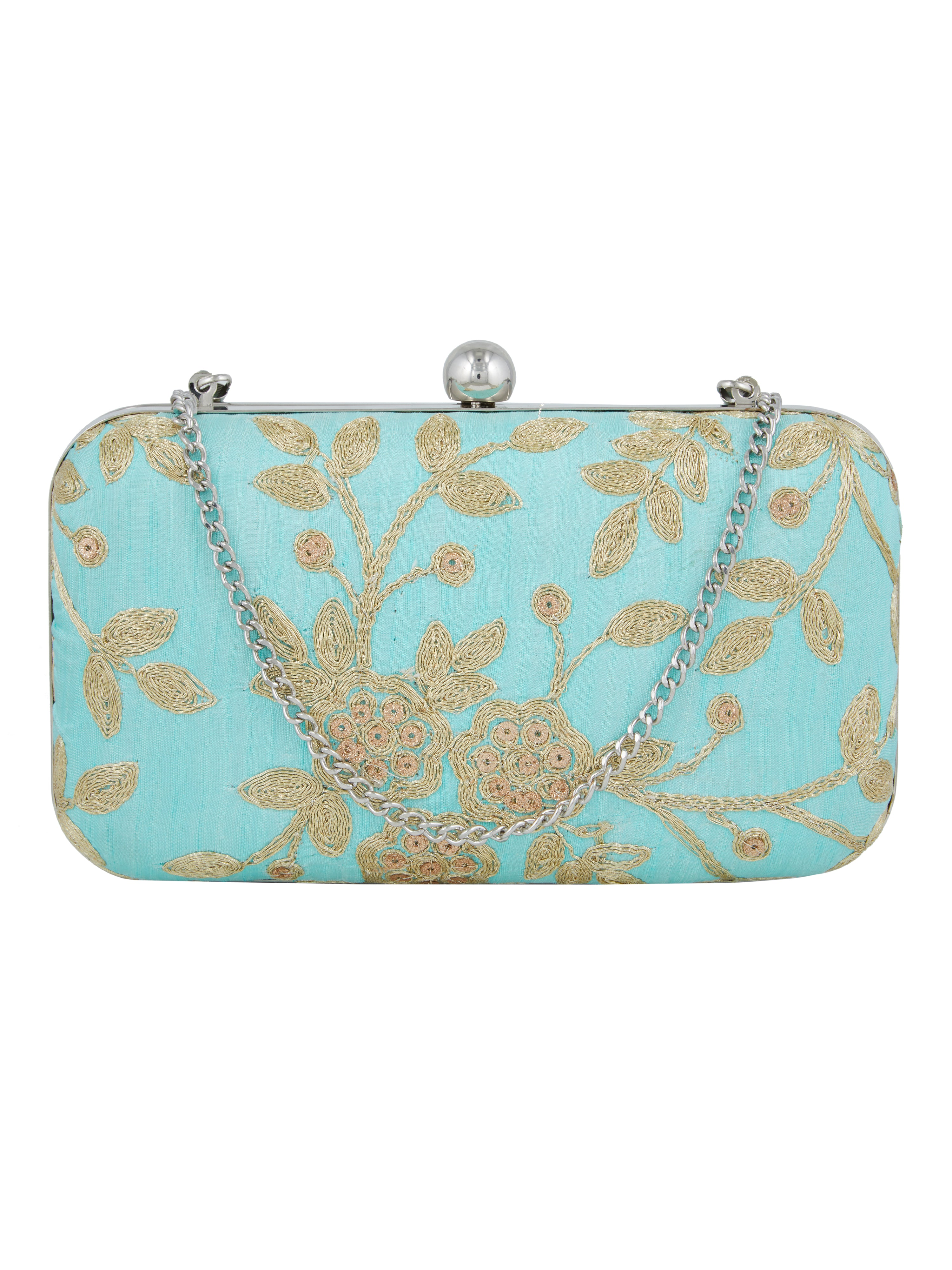 Keep your stuff handy while you are on the move with this blue coloured box clutch from the house of TARUSA. Made from silk fabric, this box clutch for women will be your companion for years to come. Unique and voguish, this box clutch will go well with your casual outfits.
