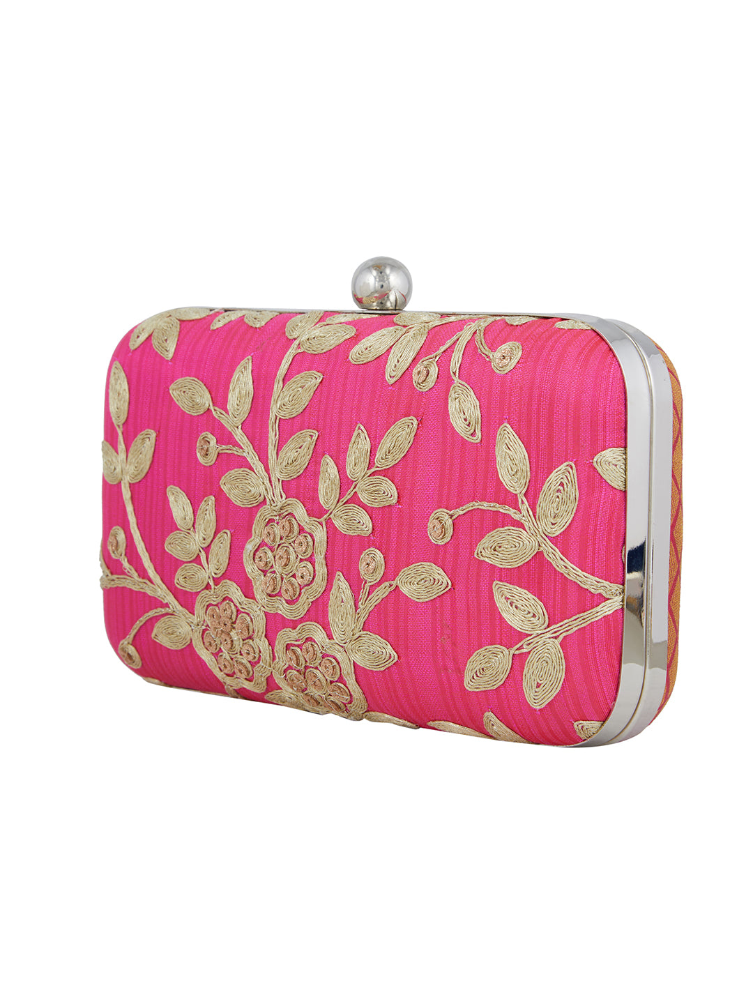 Keep your stuff handy while you are on the move with this pink coloured box clutch from the house of TARUSA. Made from silk fabric, this box clutch for women will be your companion for years to come. Unique and voguish, this box clutch will go well with your casual outfits.
