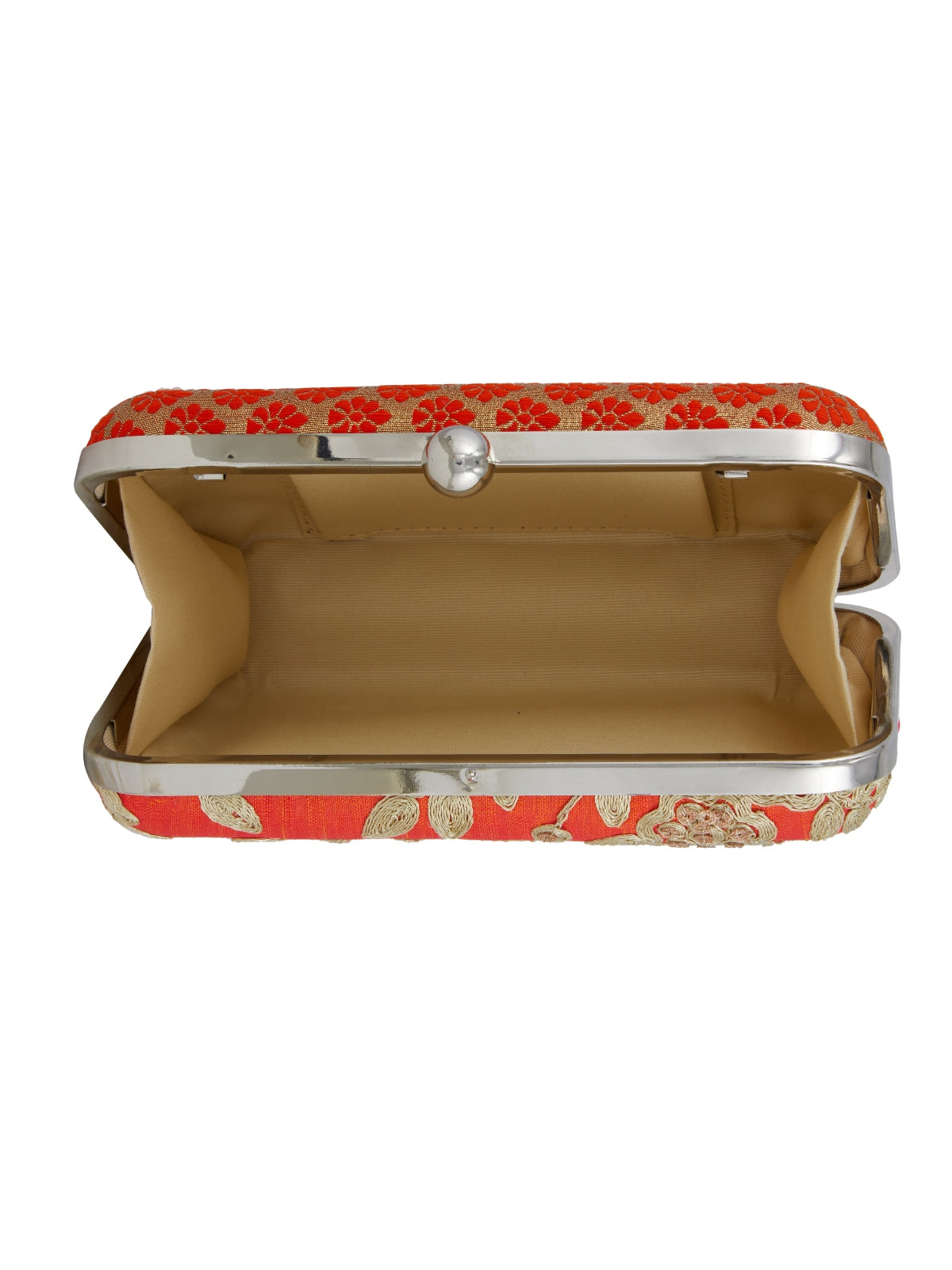 Keep your stuff handy while you are on the move with this orange coloured box clutch from the house of TARUSA. Made from silk fabric, this box clutch for women will be your companion for years to come. Unique and voguish, this box clutch will go well with your casual outfits.