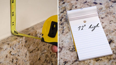 calculating the area of your backsplash - step 1