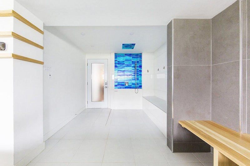 Glass Tile Wave Sparkling Blue Water
