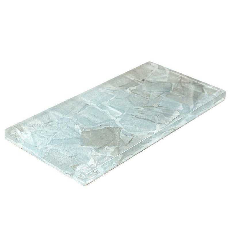 Liquid Glass Subway Tile Aqua 3 x 6