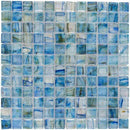 Clear Glass Mosaic Tile Stained Blue 12x12