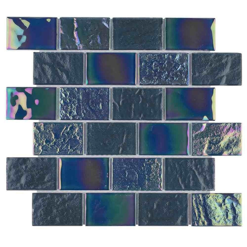 Iridescent Glass Tile Summer Gray 2 x 3