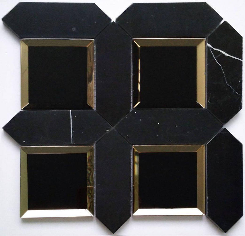 Mirror and Stone Waterjet Mosaic Tile Black