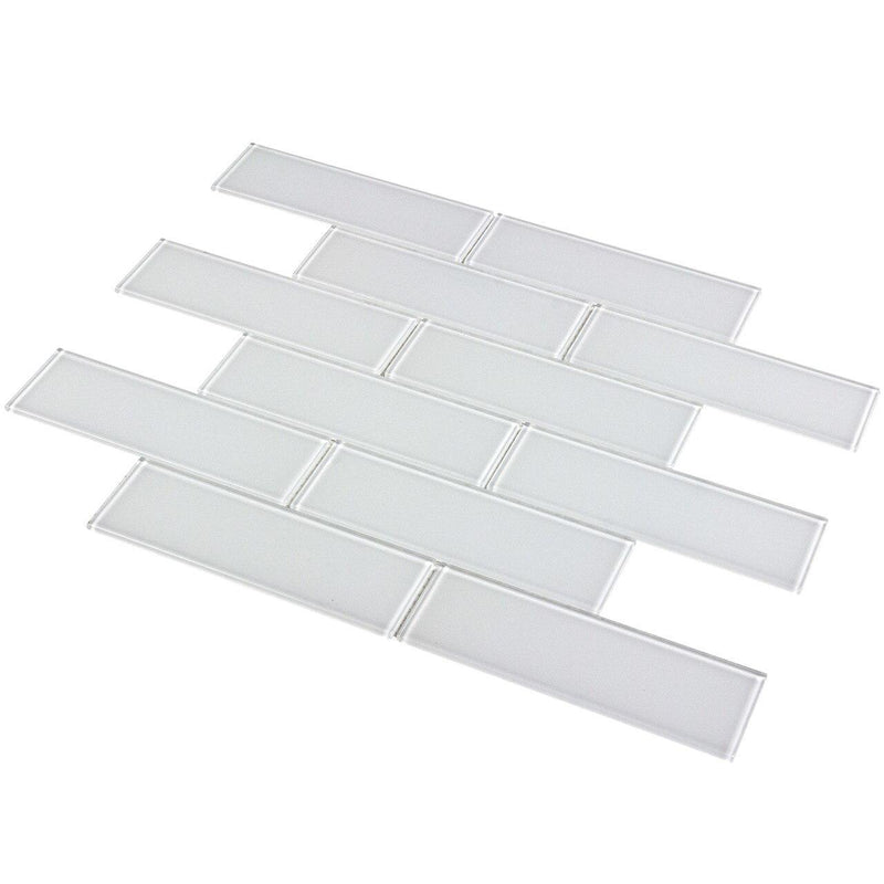 Glass Subway Tile Metropole Snow White 2x6
