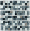 Glass Mosaic Tile Stainless Steel Blend Grey