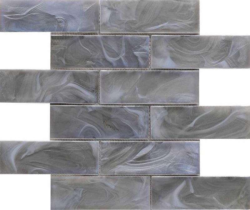 Liquified Glass Tile Smoke 2 x 6