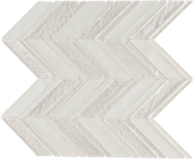 Glass Mosaic Tile Chevron Ivory
