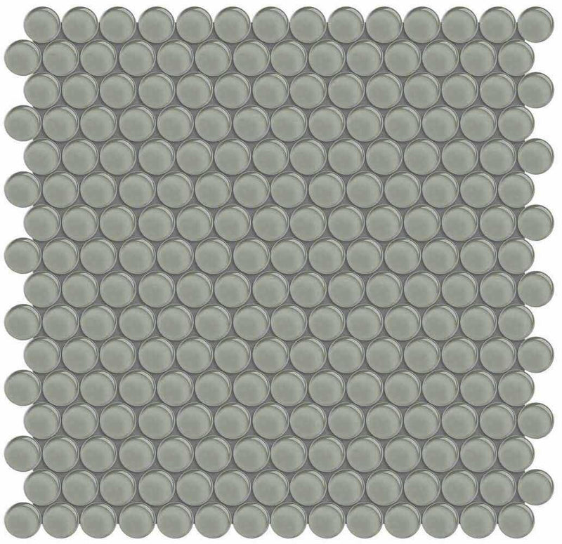 Glass Mosaic Tile Penny Round French Gray