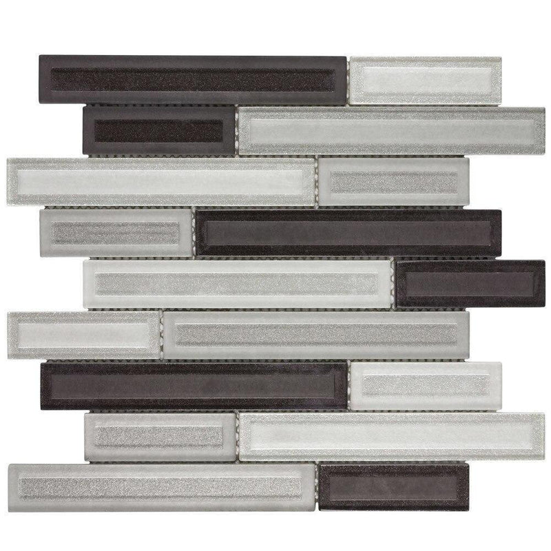 Glass Mosaic Tile Etched Charcoal