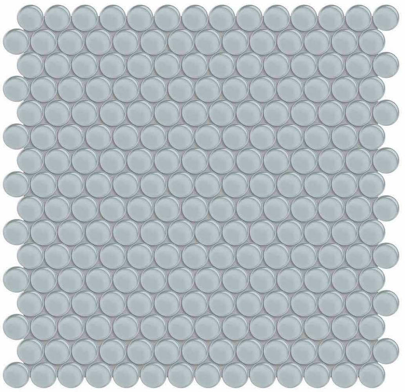 Glass Mosaic Tile Penny Round Tender Gray