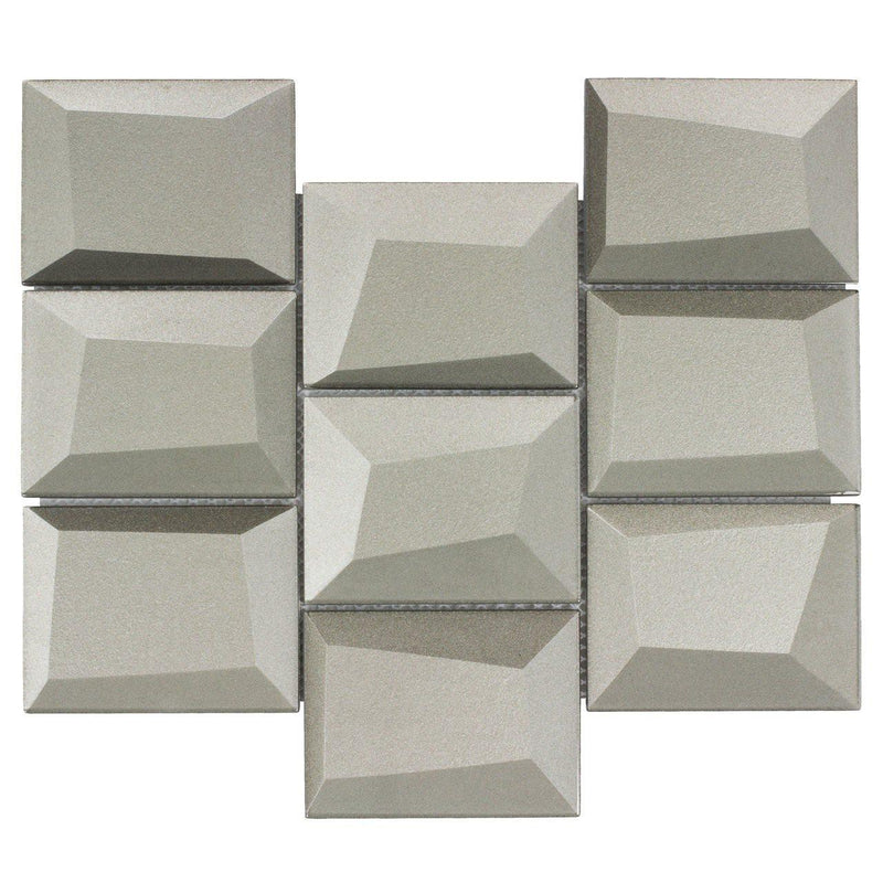 Glass Wall Tile Dimensional Pewter
