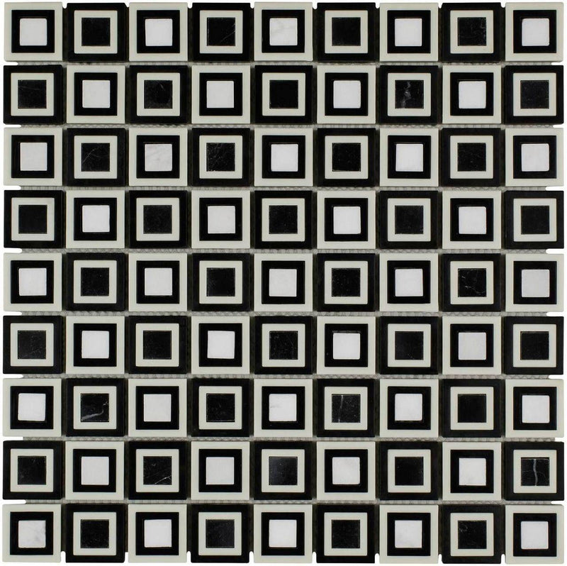 Black and White Cubes Mosaic Tile