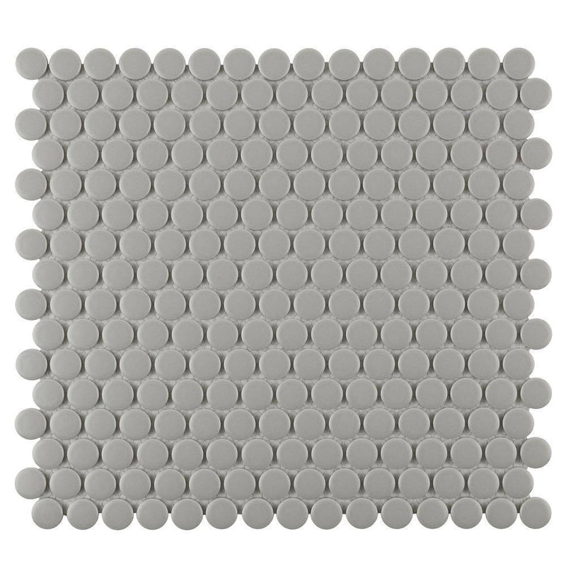 Penny Round Mosaic Tile Matte Gray