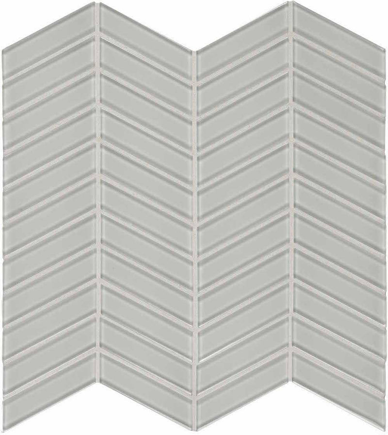 Glass Mosaic Tile Chevron White Moderne
