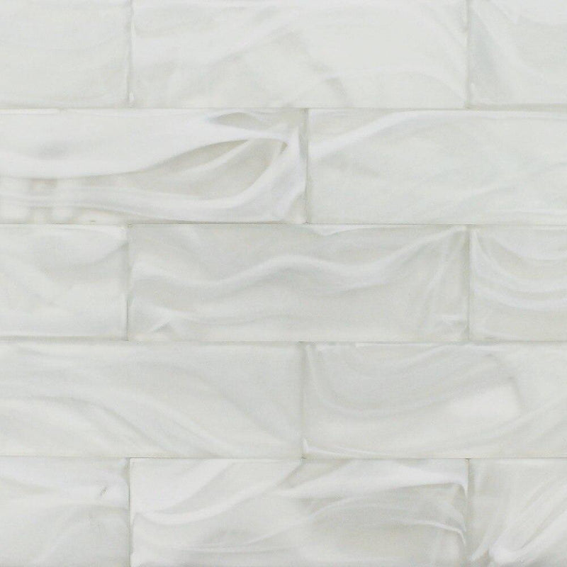 Glass Subway Tile Swirl Pearl 3 x 9