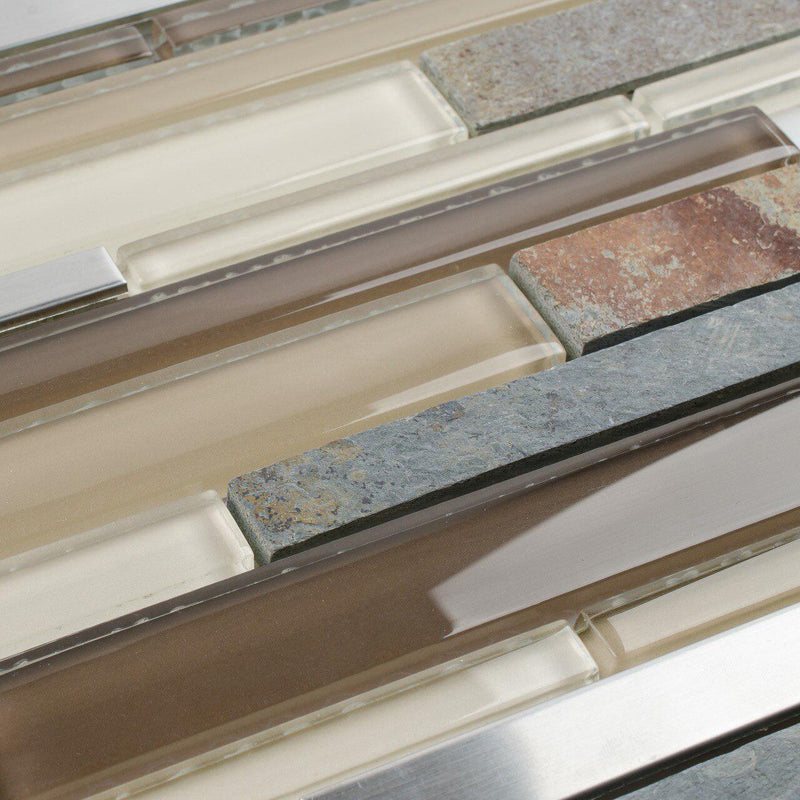 Glass Stone Stainless Mixed Tile Slate