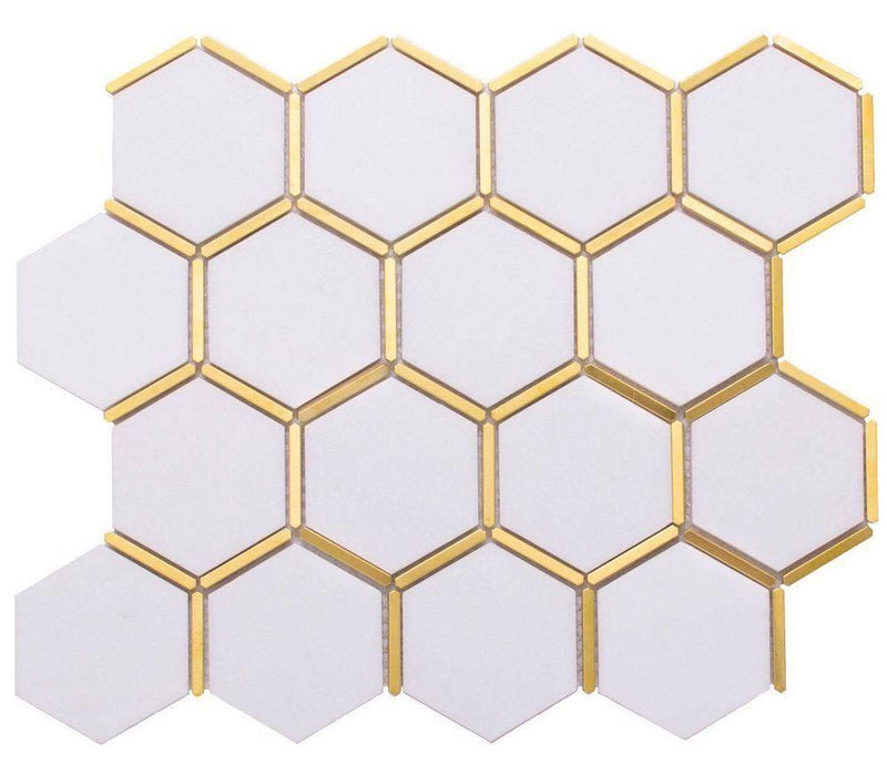 Inlay Brass Gold Hexagon White Tile