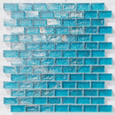Iridescent Pool Glass Tile Turquoise 1x2