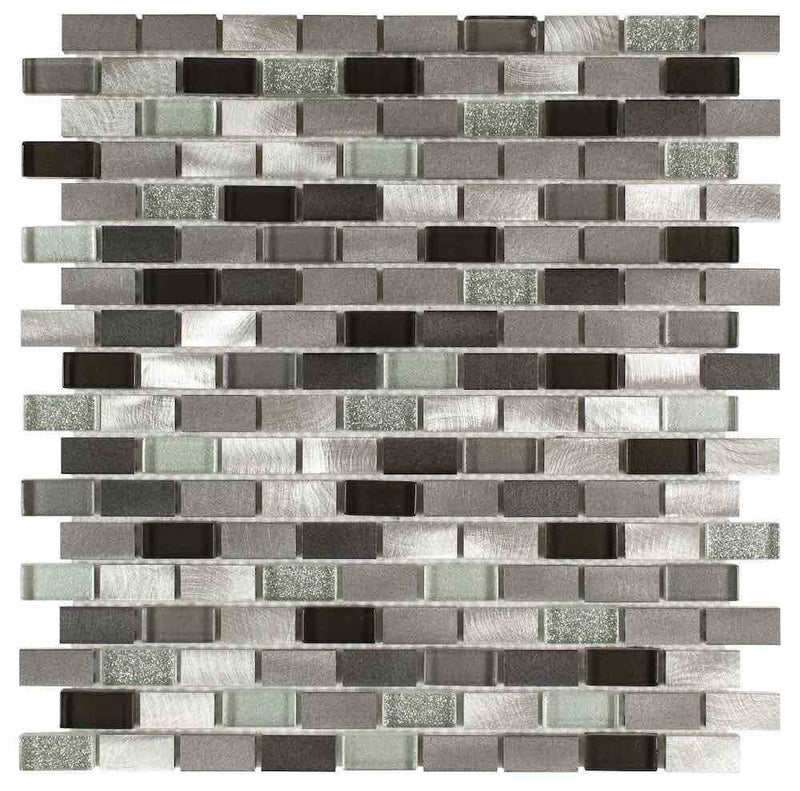 Aluminum Glass Mosaic Tile Silver Mix Mini