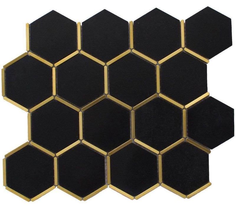 Inlay Brass Gold Hexagon Black Tile