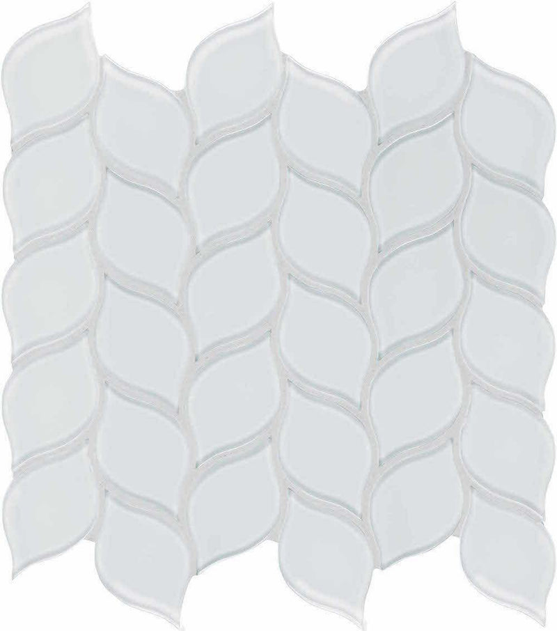 Glass Mosaic Tile Floral Leaf Extra White