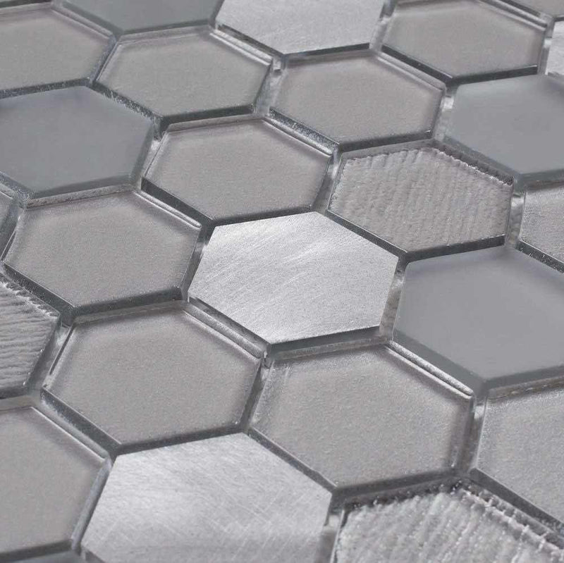 Glass Metal Mosaic Tile Hexagon Grey
