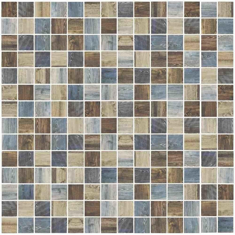 Oak Multicolor Vintage Mosaic Tile 1 x 1