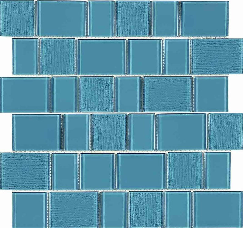 Glass Pool Mosaic Tile Ridge Aquamarine