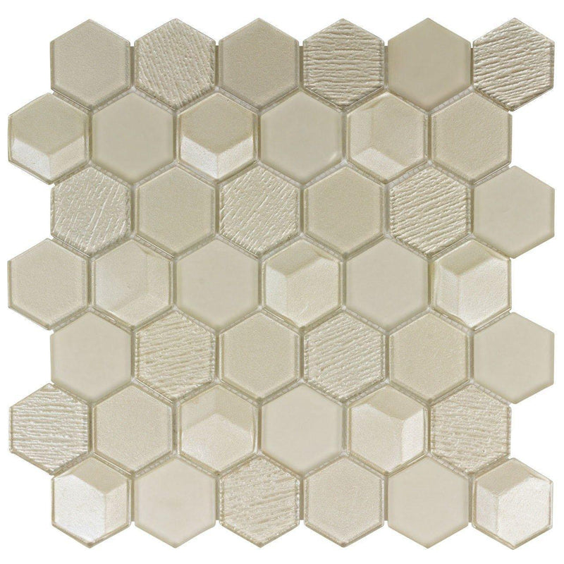 Glass Mosaic Tile Hexagon Champagne