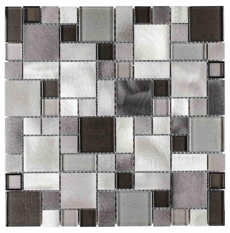 Aluminum Glass Mosaic Tile Silver Mix Pattern