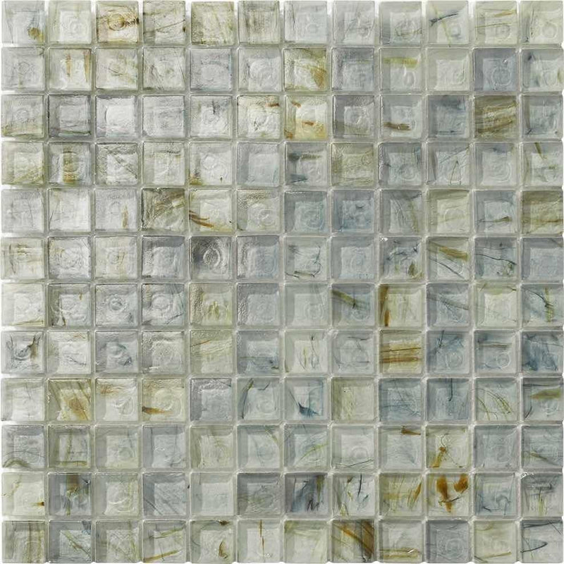 Clear Glass Mosaic Tile Stained Breeze Blue 1 x 1