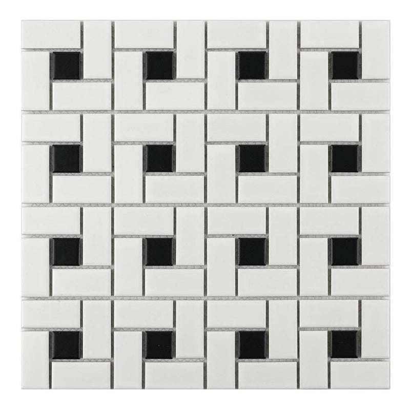 Pinwheel Dot Black and White Porcelain Mosaic Tile