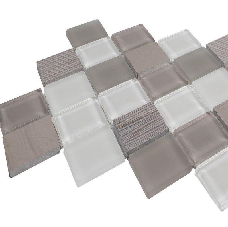 Diamond Haisa Dark Marble & Glass Tile