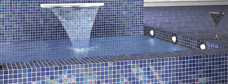 Iridescent Recycled Glass Tile Nieblas Fog Blue