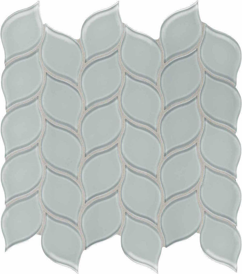 Glass Mosaic Tile Floral Leaf Tender Gray