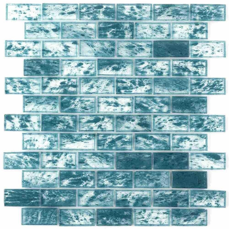 Storm Clear Glass Tile Turquoise 1 x 2