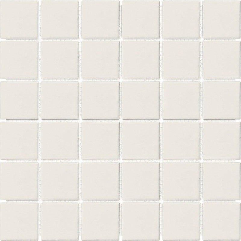 Ceramic Floor and Wall Mosaic Tile Beige Matte 2x2