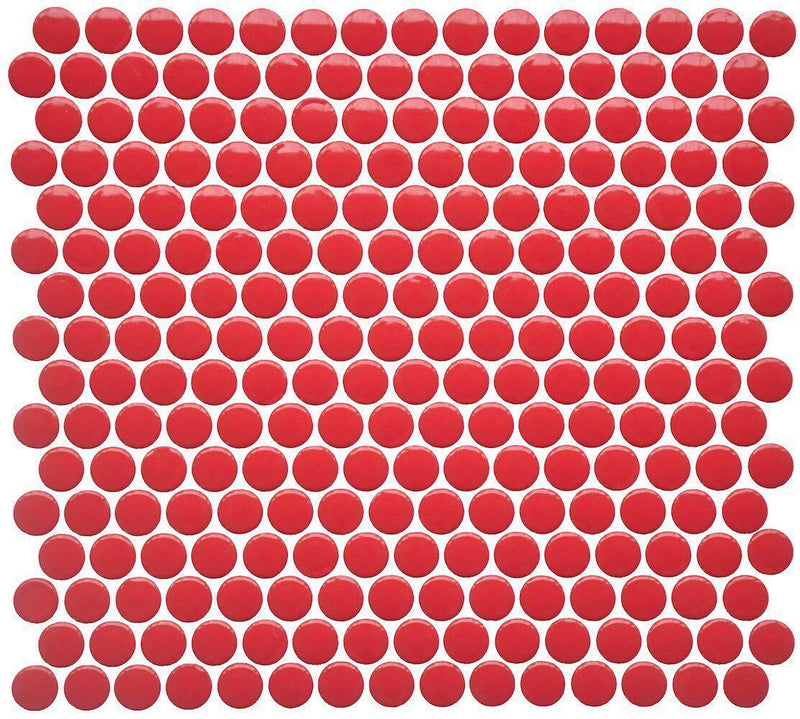 Penny Round Porcelain Mosaic Tile Glossy Red